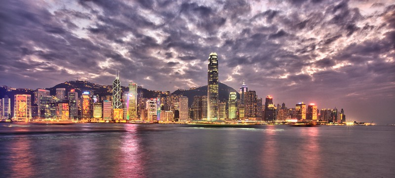 The Hong Kong skyline at sunset. You can see special light displays on many of the buildings for the Chinese New Year festivities which would begin the following evening.