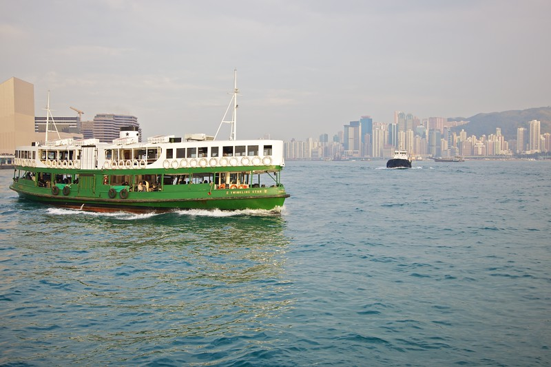 A Star Ferry crossing Hong Kong harbour from Kowloon to Hong Kong island.