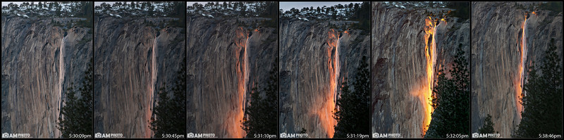 "Horsetail Falls lights up ""on fire"" 2 weeks every year. We waited for several hours for the sun to set and just as it did, some clouds rolled in and prevented the Fire Falls from starting. Luckily with about 10 minutes left in the window of ""Fire Fall""ing, the clouds parted, the bottom of the falls lit up first, and then shot on up. Here you can see the progression of Fire Falls."