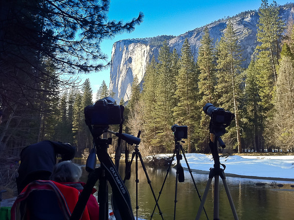 Our cameras are all setup for shooting Horsetail Falls. You can see my 2 cameras on the right here.