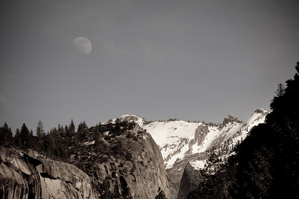 Also while photographing Yosemite Falls we noticed that the moon was out! It completely surprised us that you could see the moon at 2pm in the afternoon!