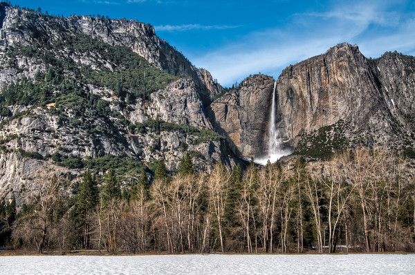 Yosemite Falls, Valley view, with snow on the ground!