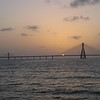 Sunset against Bandra Worli sea link