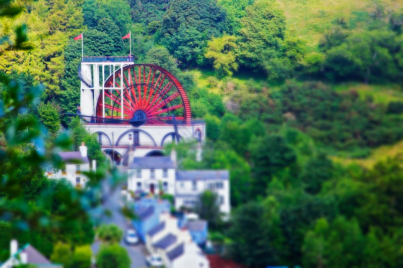 The Laxey Wheel (Lady Isabella), seen from the Snaefell Electric Railway (another tram).