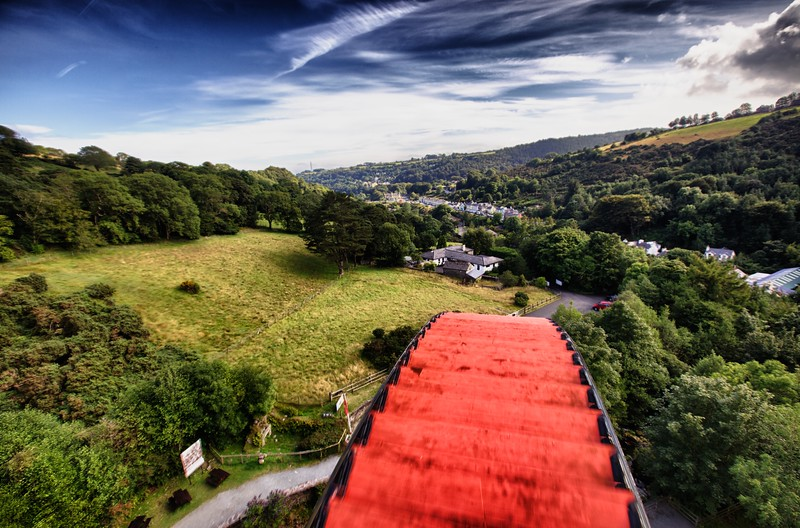 View over the top of Lady Isabella, the Laxey water-wheel.