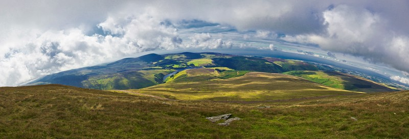 Panoramic view from Snaefell over some of the Isle of Man's rolling hills.