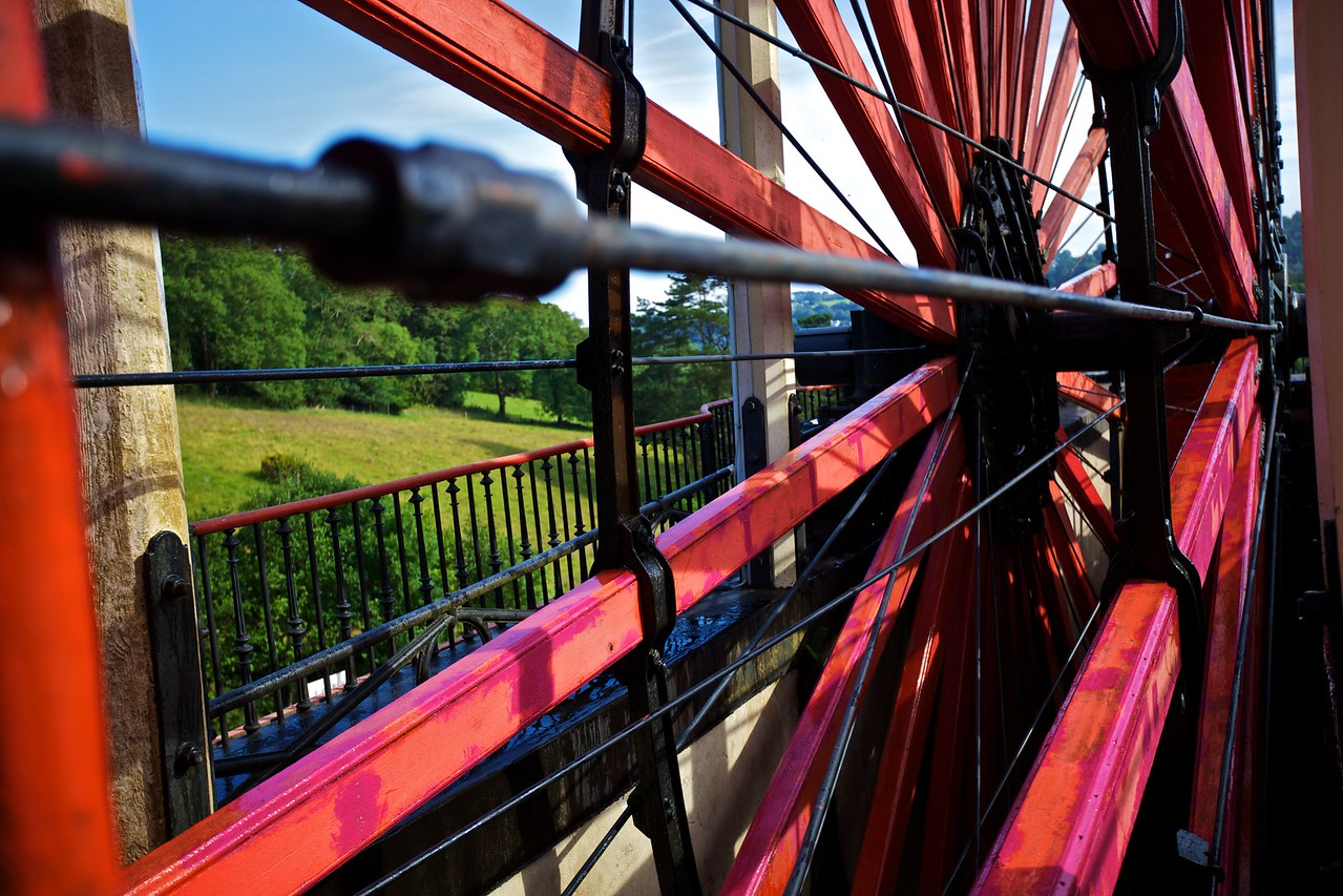 View through the spokes of Lady Isabella, the Laxey water-wheel.