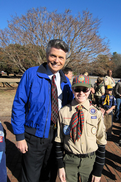 Anthony with WCNC's Larry Sprinkle, at the filming of a PSA for Scouting For Food.