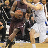 Defense too: Sycamore Aaron Carter, right, gets wrapped up with Missouri State guard Jermaine Mallett at the defensive of the floor Wednesday night.