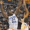 Man in the middle: Myles Walker(34) gets in the face of Missouri State standout Nafis Ricks in game action Wednesday night in Hulman center.