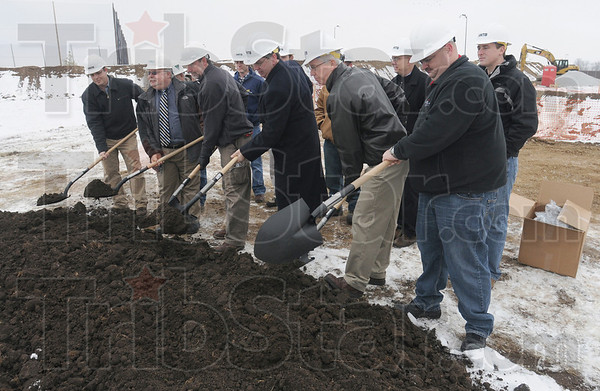 Can you dig it: Terre Haute Mayor Duke Bennett and City officials break ground at the Terre Haute Wastewater Treatment Plant upgrade Thursday morning.