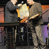 Tribune-Star/Rachel Keyes<br /> Grateful: Mayor Duke Bennett Presents a proclamation to Maryland Community Church's Senior Pastor Vince McFarland for the church's involvement with first responders.