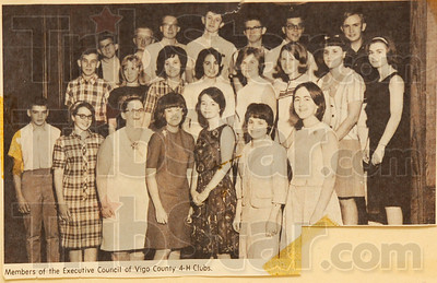 Rotogravure: Lana Frazier(Drake) appears in the Rotogravure section of the Tribune-Star as a member of the Executive Council of the 4-H. She is in the middle row, second from right.