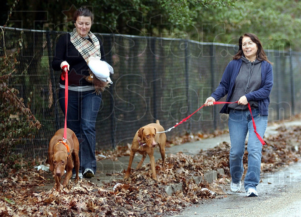 Family time: Randi Struck and her mother Eleanor Ramseier walk and talk as tehy stroll through Edgewood Grove with pets Baxter and Jasmine. Struck was home from Colorado for the holidays.