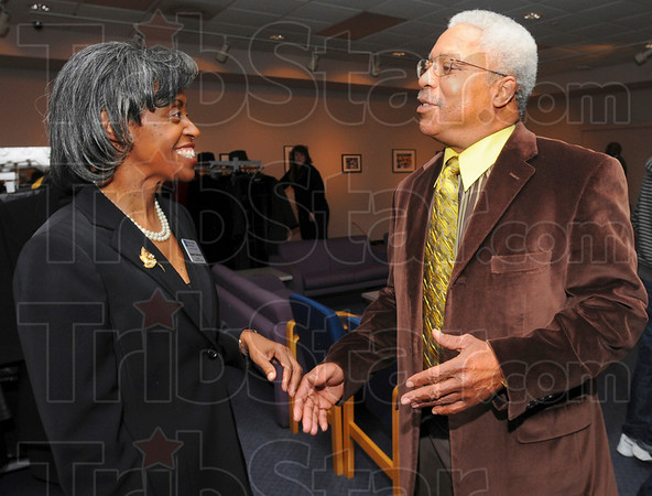 Greetings: Stephanie Jefferson Director of Indiana State Universities' African American Cultural center chats with Derek King just before the Martin Luther King Junior Dinner. Derek King is the nephew of the renowned civil rights martyr.