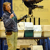 """Tribune-Star/Jim Avelis<br /> Hunter: Cindy Maynard of the American Eagle Foundation holds """"Tecumseh"""" a golden eagle. Larger than the bald eagle, goldens are more of a predator of land animals, while bald eagles are know as fish catchers. The two along with Karen Wilbur and several other birds of prey were at Dixie Bee Elementary School Friday afternoon."""