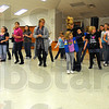 Warming up: The cookie kick-off evening started with line dancing for the Scouts and their parents.