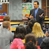 Leader: Vigo County School superintendent Danny Tanoos addresses teachers at Deming Elementary School Friday afternoon.