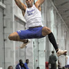 Flying high: Indiana State's Shayne Cureton gets some air enroute to a second place finish in the men's long jump.