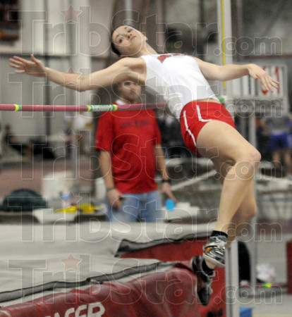 Rose winner: Rose-Hulman's Elizabeth Evans clears the bar to take first place for the Divison III portion of the track meet Saturday afternoon.