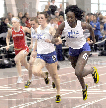 Hurdles winner: Indiana State's Stacia Weatherford (R) wins her heat and the overall 60m Hurdles event during Saturday's meet at Rose-Hulman.
