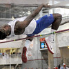 Major leap: Major Clay clears seven-feet and one half inch to win the high jump during Saturday's event.