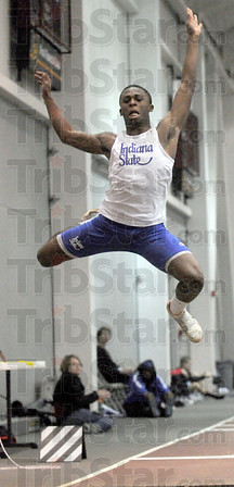 Winner: Indiana State's Marcel Hamilton soars to victory in the men's long jump event at Rose-Hulman Saturday afternoon.