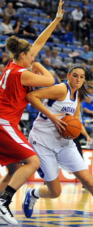 Moving around: Sycamore center Shannon Thomas pivots around Bradley defender Leah Kassing.
