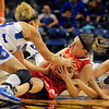 Scrambling: Sycamores Deja Mattox, left and Taylor Whitley, right, trap Bradley Lauren Niemiera in first half action Saturday afternoon.