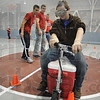 Help!: Honey Creek Student Michael Beckner tries to navigate thru the cones wearing drunk goggles as Rose-Hulman students help in the background.