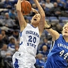 Fouled from behind: Indiana State's #20, Moriah Hodge gets fouled from behind during Saturday's game against Creighton.