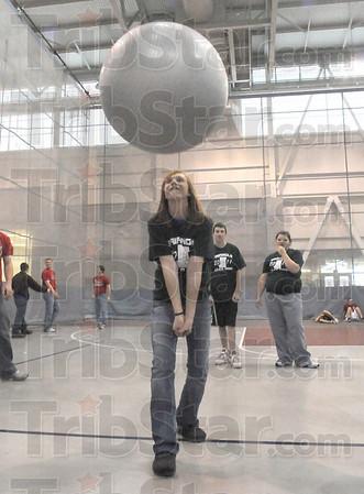 Bump:West Vigo Student Kylie Cardinal prepares to bump the ball back over the net at Rose-Hulman sponsored SADD games.