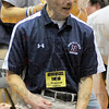 Tribune-Star/Jim Avelis<br /> Guidance: Terre Haute North wrestling coach Mark Frisz calls out instructions to his grappler Jedidiah Page.