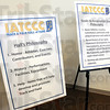 Hall: Detail of mission statements for the IATCCC during Saturday's announcement.