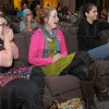 This is a test: SMWC students Margy Frazier of Herscher Ill., Heather Ennis of Terre Haute and Tiffany Marshall of Kingman In., react to the comedy portion of Professor Moss' presentation Tuesday night.