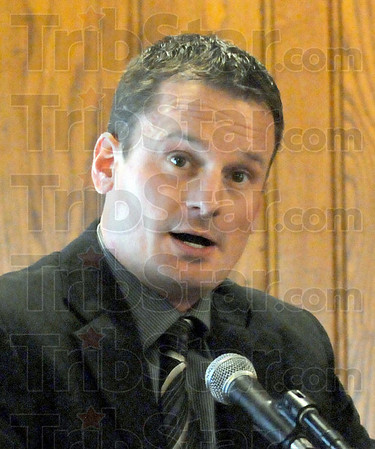 Coach: North coach Todd Woelfle speaks during Wednesday's Luncheon.