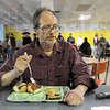 """Homeless: A man identifying himself only as """"Ed"""" has lunch at the Lighthouse Mission Wednesday."""