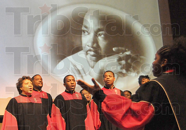 Singers: The Bethlehem Temple Choir performs at Ivy Tech Monday morning as part of the MLK Day activities.
