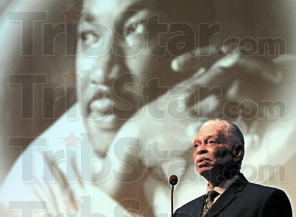 Keynote: Dr. Gregory C. Bell gives the keynote speech during Monday's MLK Day events at Ivy Tech.