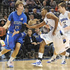 Teamwork: Creighton's Kaleb Korver looks past Sycamores Steve McWhorter(25) and Aaroncarter(32) in game action Sunday.