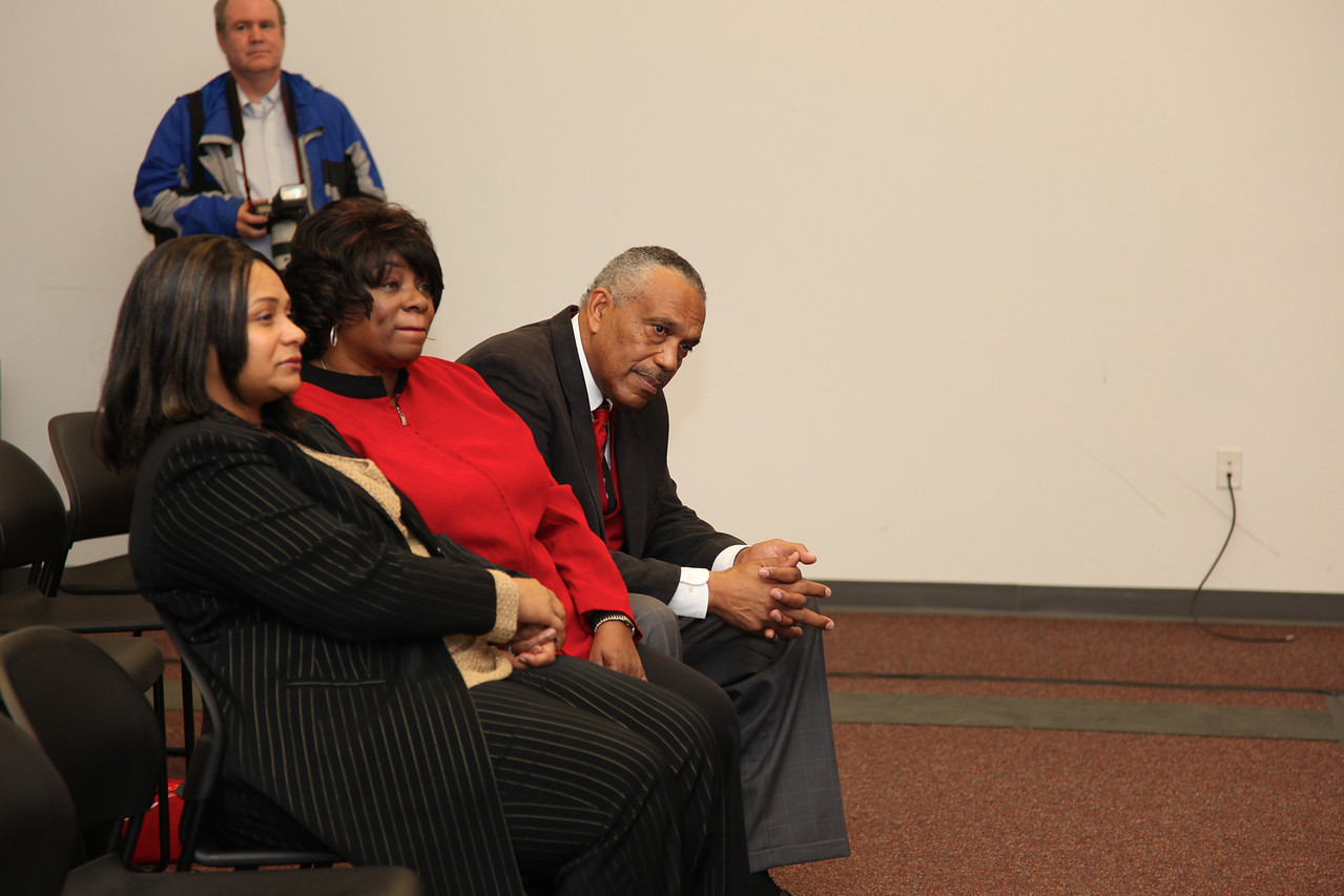 Ron Dickerson, Sr. listens to a reporter's question at the press conference where his son Ron Dickerson, Jr. was named Gardner-Webb Head Football Coach on January 26, 2010.