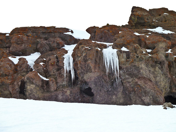 Cool ice formations by Palisades Bowl at Kirkwood