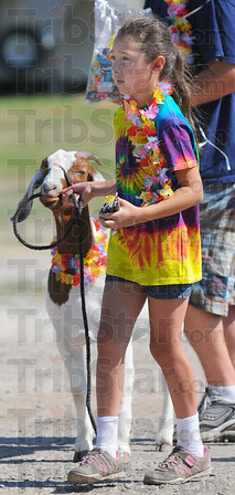 Tribune-Star/Jim Avelis<br /> Just kidding: Lexea Hendricks leads one of her goats in the 4-H parade Thursday afternoon.