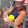 Tribune-Star/Jim Avelis<br /> Popup: Hollie Jones gets a hit on a bloop to short center field in the MSA tourney Thursday afternoon.