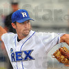 Tribune-Star/Jim Avelis<br /> Taking aim: Daniel Heefner throws to a Richmond batter in the early innings of the Rex game Thursday night.