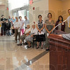 "Tribune-Star/Jim Avelis<br /> Thanks: Scott Teffteller, President and CEO of Union Hospital, addresses the crowd gathered for the unveiling of ""The Light of Hope and Healing"" in the lobby of the Hux Cancer Center."