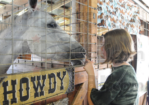 Tribune-Star/Rachel Keyes<br /> Some loving: Sarah Martin gives her horse Heuy some tender love and care after showing him Sunday at the Vigo County Fair.