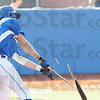 Tribune-Star/Rachel Keyes<br /> Bust it: Terre Haute Rex's Nick Johnson breaks his bat on a base hit in early innings Sunday.