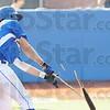 Tribune-Star/Rachel Keyes<br /> Bust it: Terre Haute Rex's Nick Johnson breaks his bat on a base hit in early innings Sunday.