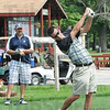 Tribune-Star/Rachel Keyes<br /> Straight fore the green: Josh Strain tees off in the Brazil Open Sunday morning.